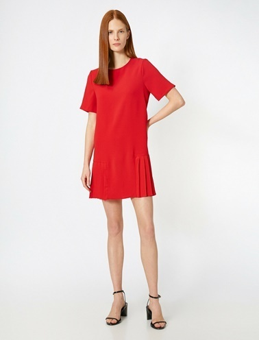 Koton Firfir Detayli Elbise Kırmızı
